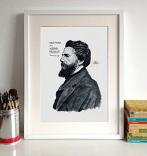 Herman Melville Portrait Poster Print in a frame