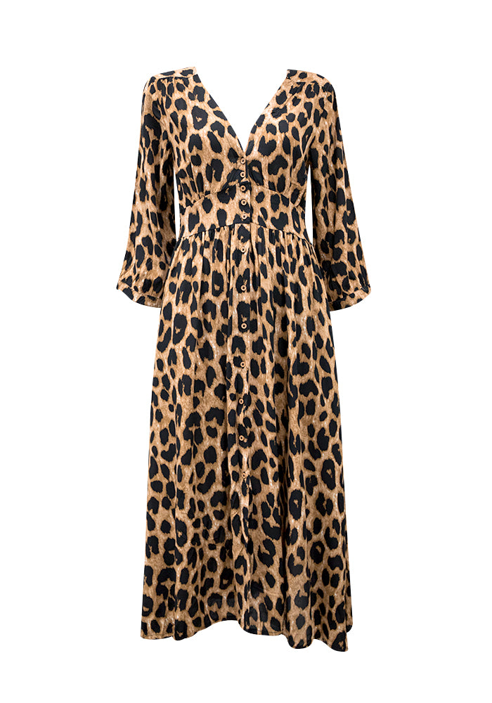BOHO Leopard Midi Dress - West & Rose