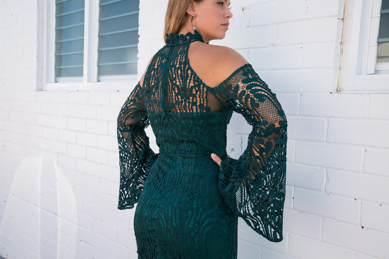 Nayla Dress In Emerald Green - West & Rose