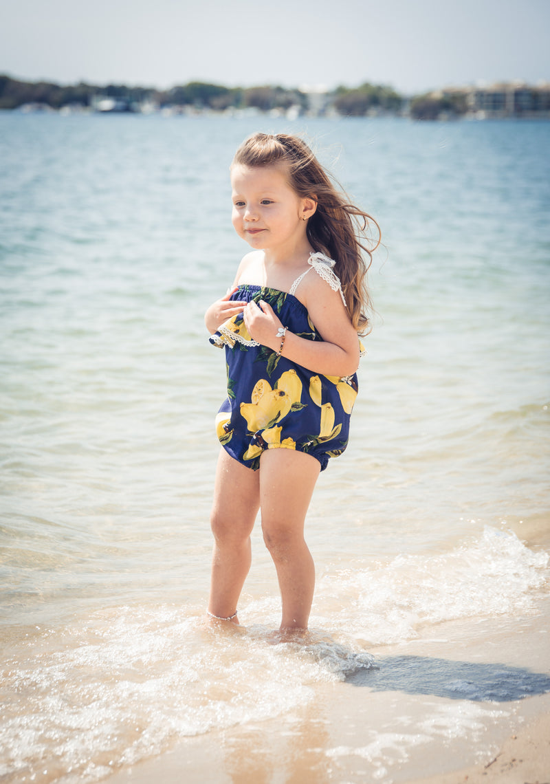 Navy Lemon Romper - West & Rose