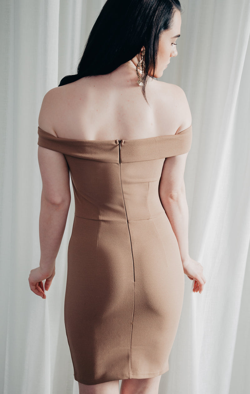 Take A Bow Mini Dress Nude - West & Rose