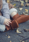 Unisex tan genuine leather mocc boots - West & Rose