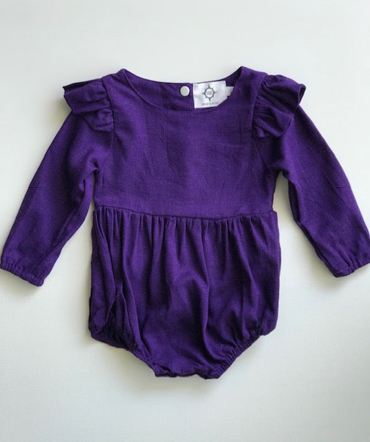 Organic Linen Purple Romper - West & Rose