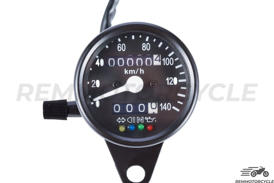 Compteur Moto Cafe Racer Km/h Noir Fond Noir 4 indicateurs