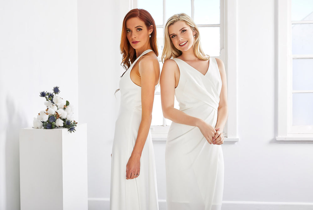 Modern wedding dress, Ivory bridesmaid dress, midi length dress