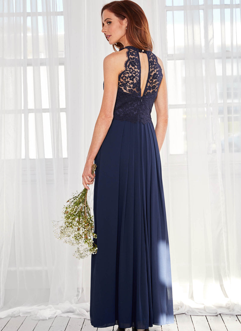 Graced by Lace Dress: Navy