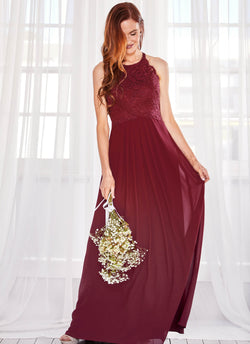 Graced by Lace Dress, Merlot Red