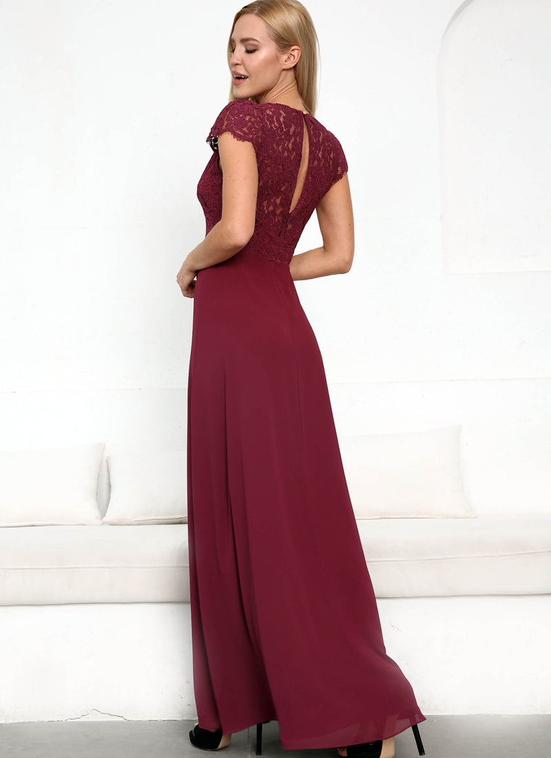 Laced with Romance Dress, Merlot Red