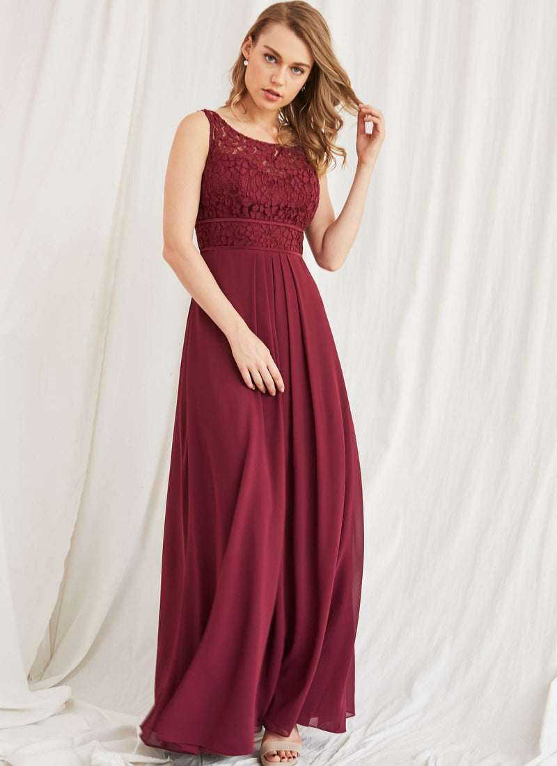 Lace Bateau Dress, Merlot Red