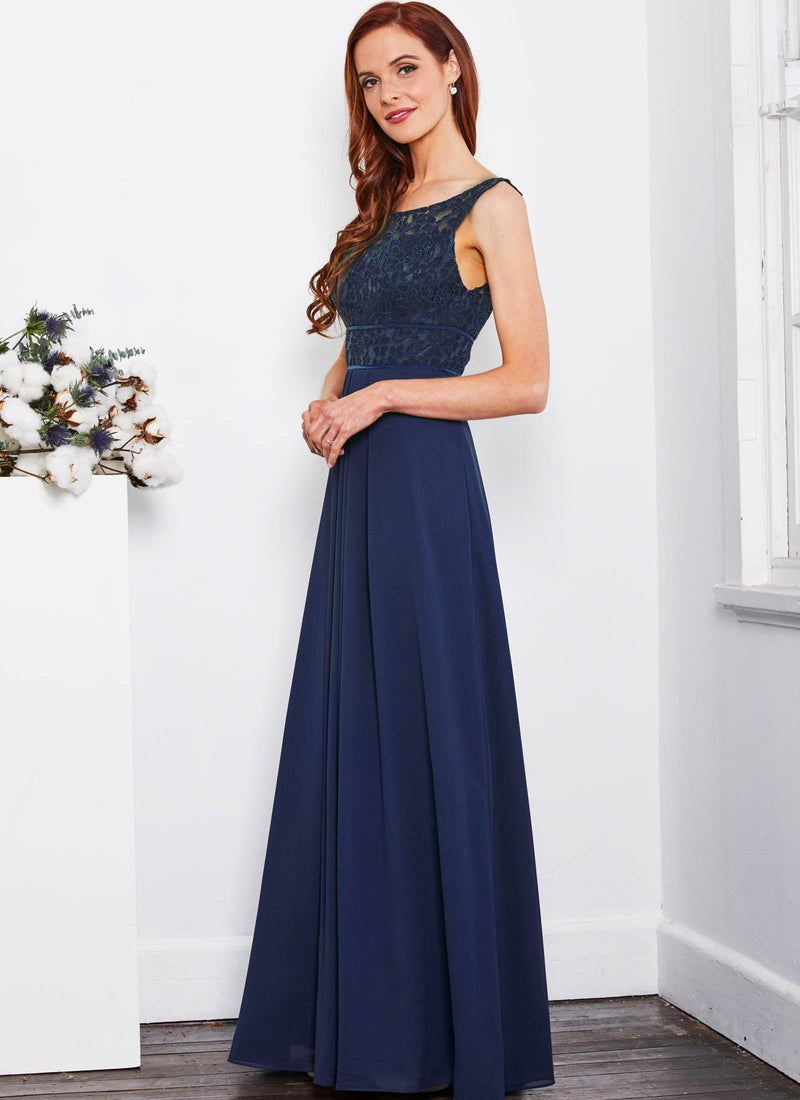 Lace Bateau Dress, Navy