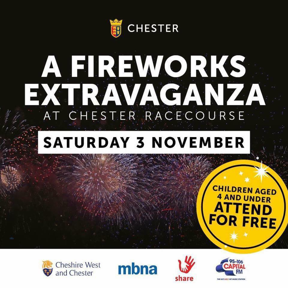 Chester Racecourse Fireworks Tickets available from the Share Shop Chester