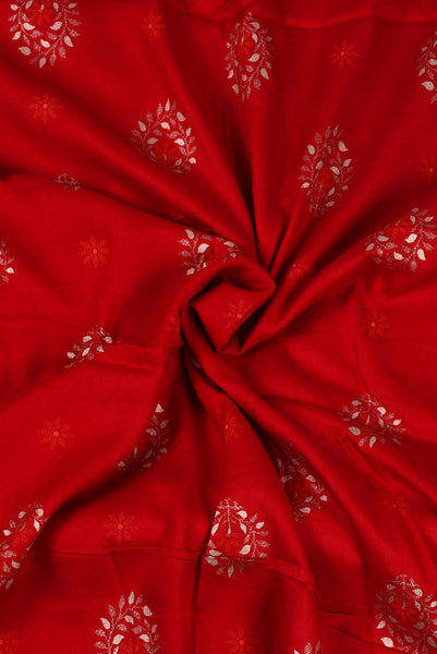 Red Flower Print Screen Cotton Printed Fabric