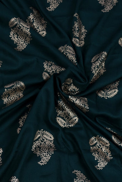 Golden Printed Dark Green Rayon Fabric