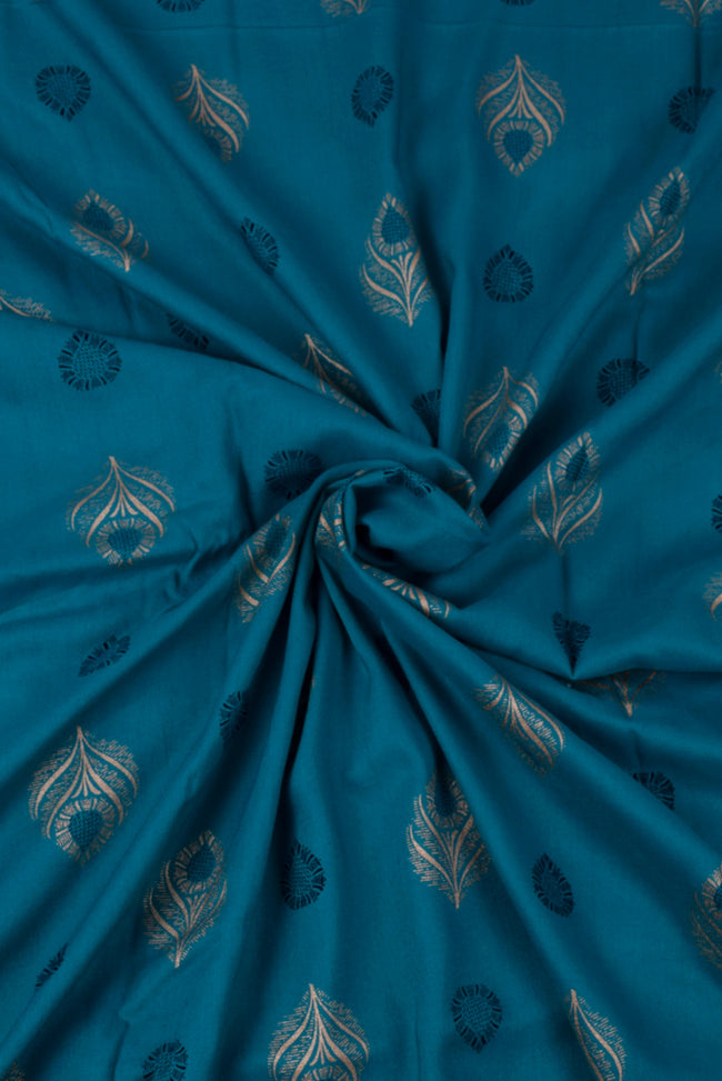 Blue Peacock Printed Rayon Fabric