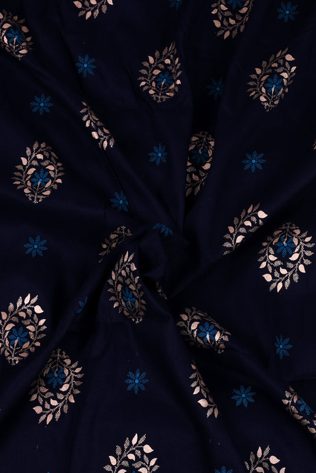 Navy Blue Flower Print Screen Cotton Printed Fabric