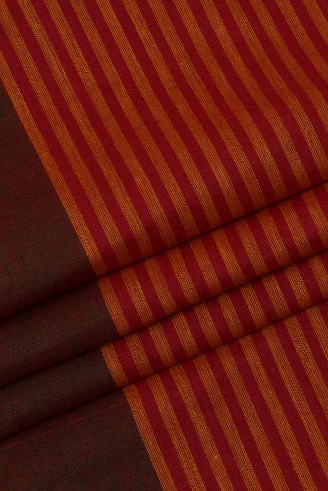 Maroon Stripes Printed Cotton Fabric