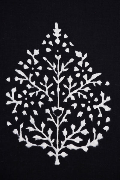 Black Tree Printed Cotton Screen Print Fabric