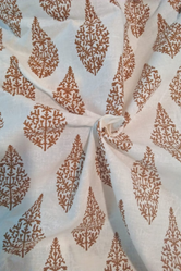 Brown Leaf Print Cotton Fabric