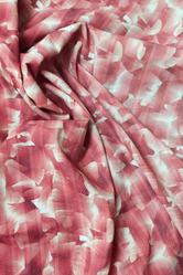 Coral Abstract Print Digital Crepe Fabric