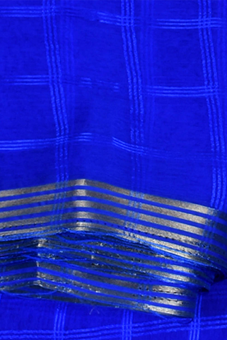 Blue Checks Printed Pure Chiffon Fabric