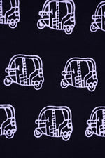 Black Auto Printed Handblock Cotton Fabric