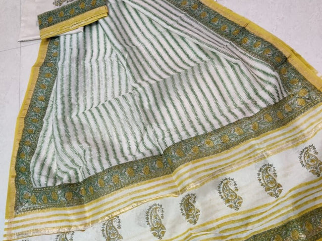 Green Butta Print Chanderi Silk Unstitched Suit Set with Chanderi Silk Dupatta