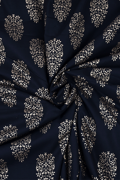 Black Leaf Printed Cotton Fabric