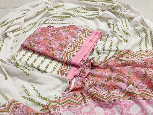 Pink & Green Flower Print Cotton Suit Set with Cotton Duppatta