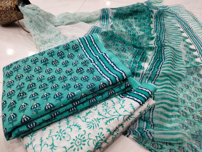 Green Flower Print Cotton Suit Set with Chiffon Dupatta