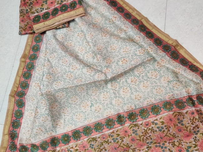 White & Pink Flower Print Chanderi Silk Unstitched Suit Set with Chanderi Silk Dupatta