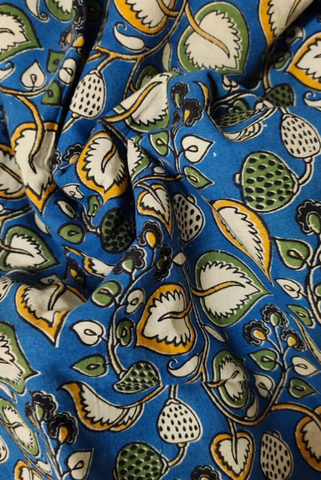 Blue Leaf Print Kalamkari Fabric