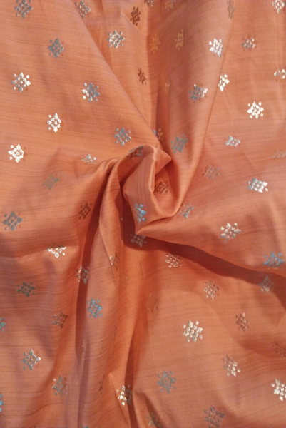 Peach Colour Golden Butti Jaquard Silk Fabric