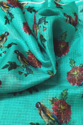 Sky Blue Bird Print Gold Kota Doria Fabric