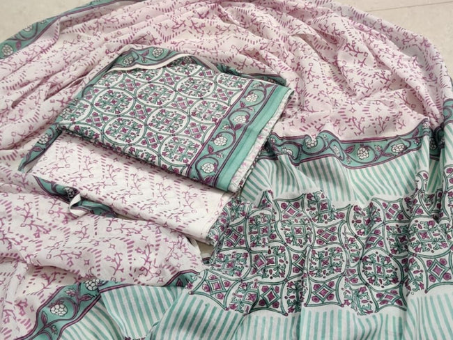Green & Pink Leaf Print Cotton Suit Set with Cotton Duppatta