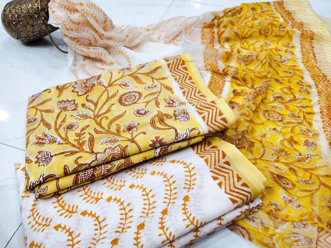 Yellow Flower Print Cotton Suit Set with Chiffon Dupatta