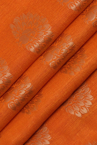 Orange Silver Flower Printed Jacquard Silk Fabric