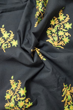 Navy Blue Gold Cotton Fabric