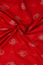 Red Leaf Print Handblock Fabric