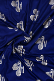 Navy Blue Musical Instrument Printed Rayon Fabric