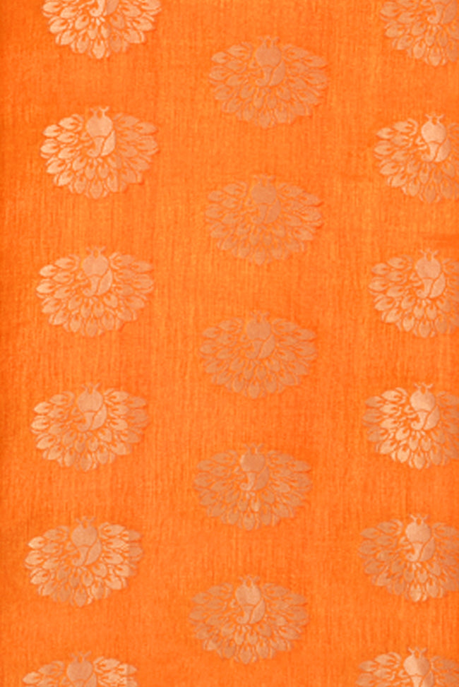 Orange Flower Print Jacquard Silk Fabric