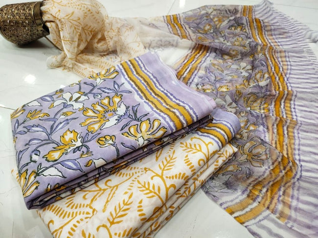Yellow & Purple Flower Print Cotton Suit Set with Chiffon Dupatta