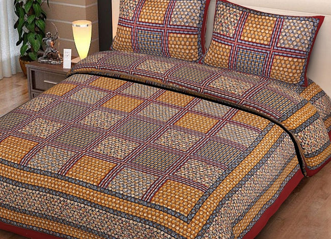 Brown Checks Print King Size Cotton Bed Sheet