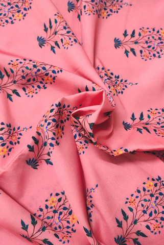 Pink Flower Print Digital Crepe Fabric