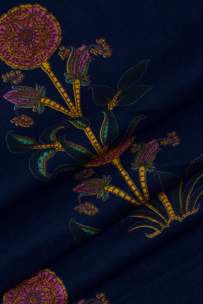Navy Blue Flower Printed Cotton Fabric