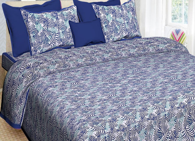 Blue Leaf Print King Size Cotton Bed Sheet