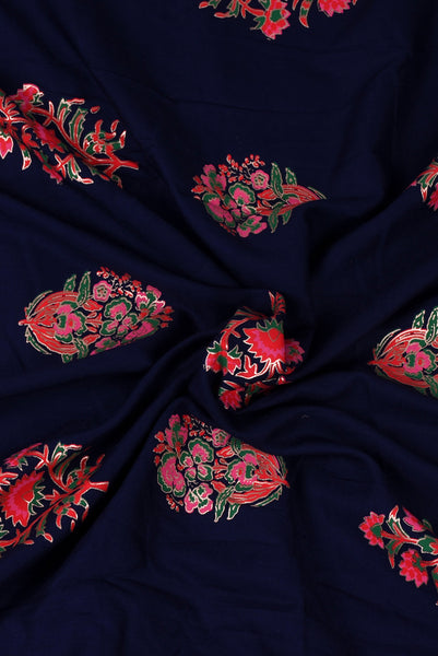 Navy Blue Floral Print Screen Cotton Printed Fabric