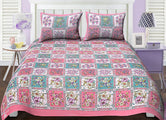 Pink & Green Flower Print King Size Cotton Bed Sheet