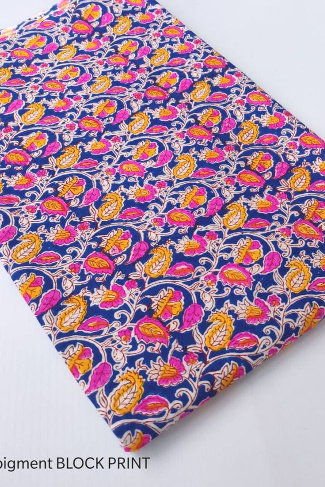 Blue Flower Print Handblock Fabric
