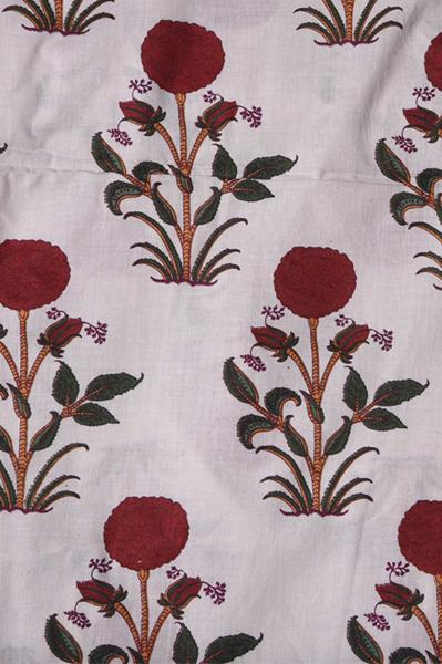 White Flower Mughal Printed Cotton Fabric