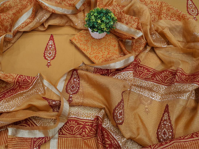 Yellow Butta Print Cotton Unstitched Suit Set with Silk Dupatta